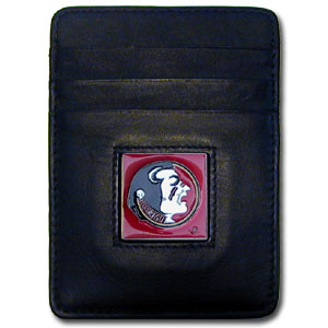 College Money Clip/Card Holder - Florida State Seminoles - Our Executive Florida State Seminoles college Money Clip/Card Holders won't make you choose between paper or plastic because they stow both easily. Features our sculpted and enameled school logo on black leather. Check out our entire line of  leather checkbooks! Thank you for shopping with CrazedOutSports.com