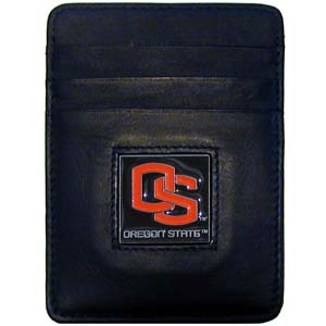 College Money Clip/Card Holder - Oregon State Beavers - Our Executive college Money Clip/Card Holders won't make you choose between paper or plastic because they stow both easily. Features our sculpted and enameled school logo on black leather. Check out our entire line of  leather checkbooks! Thank you for shopping with CrazedOutSports.com