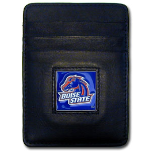 College Money Clip/Card Holder Boxed- Boise State Broncos - Our Boise State Broncos college Money Clip/Card Holders won't make you choose between paper or plastic because they stow both easily. Features our sculpted and enameled school logo on black leather. Packaged in a windowed box. Thank you for shopping with CrazedOutSports.com