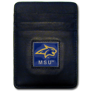 Leather Money Clip/Cardholder - Montana St. Bobcats - Our Executive college Money Clip/Card Holders won't make you choose between paper or plastic because they stow both easily. Features our sculpted and enameled school logo on black leather and is packaged in a collector's tin. Thank you for shopping with CrazedOutSports.com