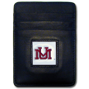 College Money Clip/Card Holder - Montana Grizzlies - Our Executive college Money Clip/Card Holders won't make you choose between paper or plastic because they stow both easily. Features our sculpted and enameled school logo on black leather. Check out our entire line of  leather checkbooks! Thank you for shopping with CrazedOutSports.com
