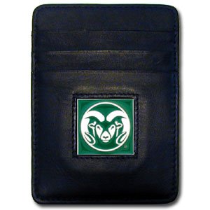 College Money Clip/Card Holder Boxed- Colorado St. Rams - Our college Money Clip/Card Holders won't make you choose between paper or plastic because they stow both easily. Features our sculpted and enameled Colorado State Rams logo on black leather. Packaged in a windowed box. Thank you for shopping with CrazedOutSports.com