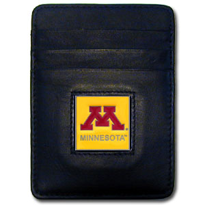 College Money Clip/Card Holder - Minnesota Golden Gophers - Our Executive college Money Clip/Card Holders won't make you choose between paper or plastic because they stow both easily. Features our sculpted and enameled school logo on black leather. Check out our entire line of  leather checkbooks! Thank you for shopping with CrazedOutSports.com