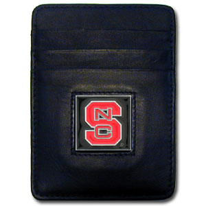 College Money Clip/Card Holder - N. Carolina St. Wolfpack - Our Executive college Money Clip/Card Holders won't make you choose between paper or plastic because they stow both easily. Features our sculpted and enameled school logo on black leather. Check out our entire line of  leather checkbooks! Thank you for shopping with CrazedOutSports.com