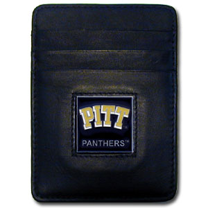 College Money Clip/Card Holder Boxed- Pittsburgh Panthers - Our college Money Clip/Card Holders won't make you choose between paper or plastic because they stow both easily. Features our sculpted and enameled school logo on black leather. Packaged in a windowed box. Thank you for shopping with CrazedOutSports.com