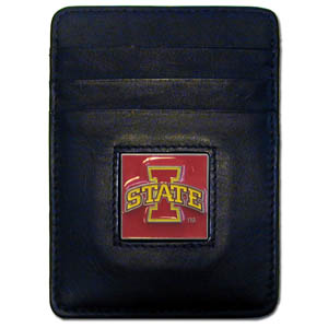 College Money Clip/Card Holder -Iowa St. Cyclones - Iowa St. Cyclones Executive college Money Clip/Card Holders won't make you choose between paper or plastic because they stow both easily. Features our sculpted and enameled school logo on black leather. Check out our entire line of  leather checkbooks! Thank you for shopping with CrazedOutSports.com