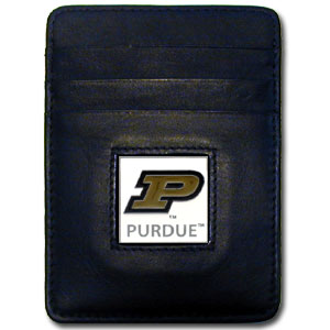 College Money Clip/Card Holder - Purdue Boilermakers - Our Executive college Money Clip/Card Holders won't make you choose between paper or plastic because they stow both easily. Features our sculpted and enameled school logo on black leather. Check out our entire line of  Wallets and Checkbook Covers!  Thank you for shopping with CrazedOutSports.com