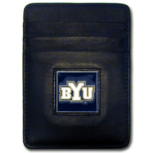 College Money Clip/Card Holder - BYU Cougars - Our Executive college Money Clip/Card Holders won't make you choose between paper or plastic because they stow both easily. Features our sculpted and enameled BYU Cougars logo on black leather. Check out our entire line of  leather checkbooks! Thank you for shopping with CrazedOutSports.com