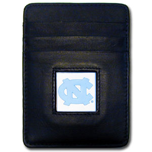College Money Clip/Card Holder - North Carolina Tar Heels - Our Executive college Money Clip/Card Holders won't make you choose between paper or plastic because they stow both easily. Features our sculpted and enameled school logo on black leather. Check out our entire line of  leather checkbooks! Thank you for shopping with CrazedOutSports.com