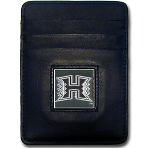 College Money Clip/Card Holder - Hawaii Rainbow Warriors - This Hawaii Rainbow Warriors college Money Clip/Card Holders won't make you choose between paper or plastic because they stow both easily. Features our sculpted and enameled school logo on black leather. Packaged in a windowed box. Thank you for shopping with CrazedOutSports.com
