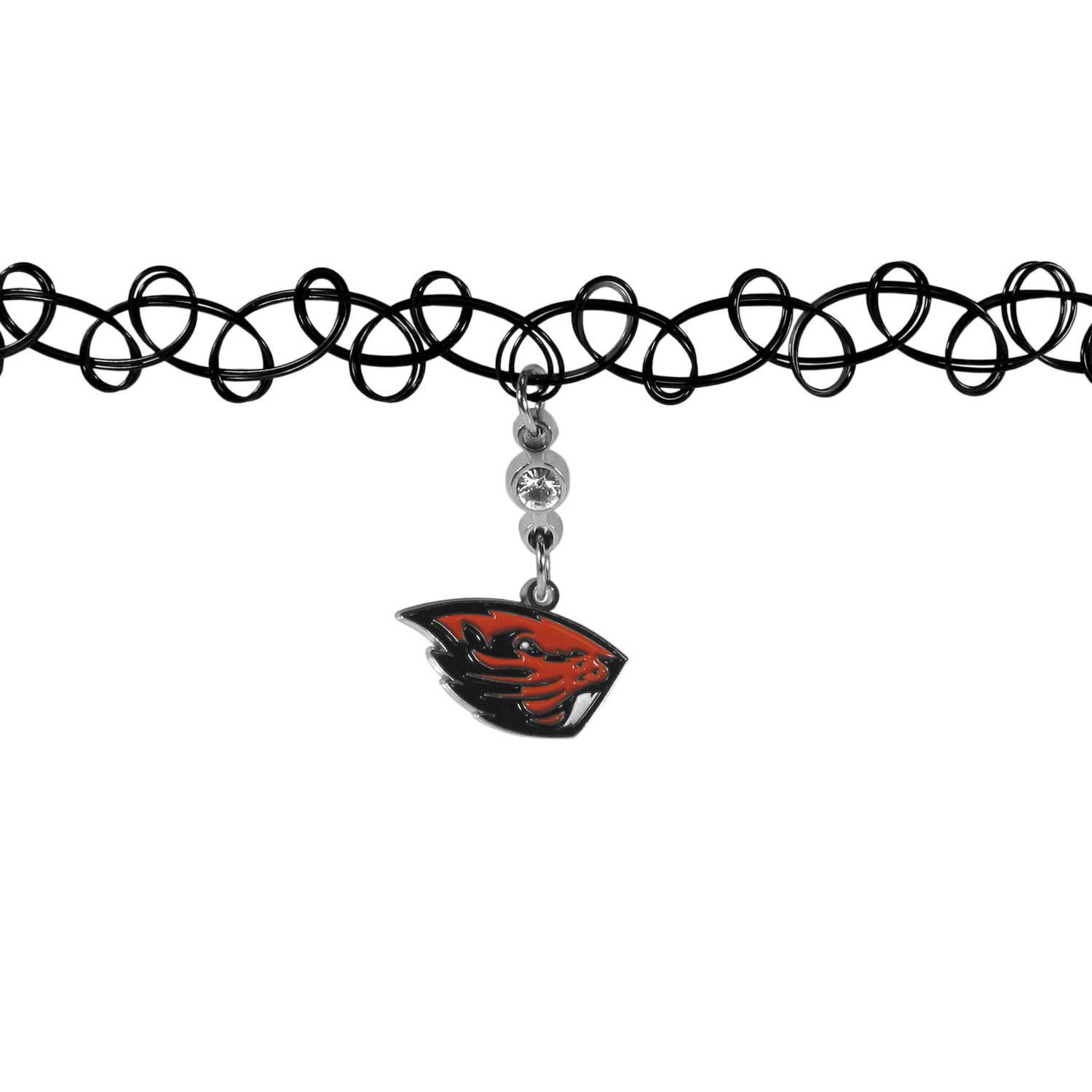 Oregon St. Beavers Knotted Choker - This retro, knotted choker is a cool and unique piece of fan jewelry. The tattoo style choker features a high polish Oregon St. Beavers charm with rhinestone accents.