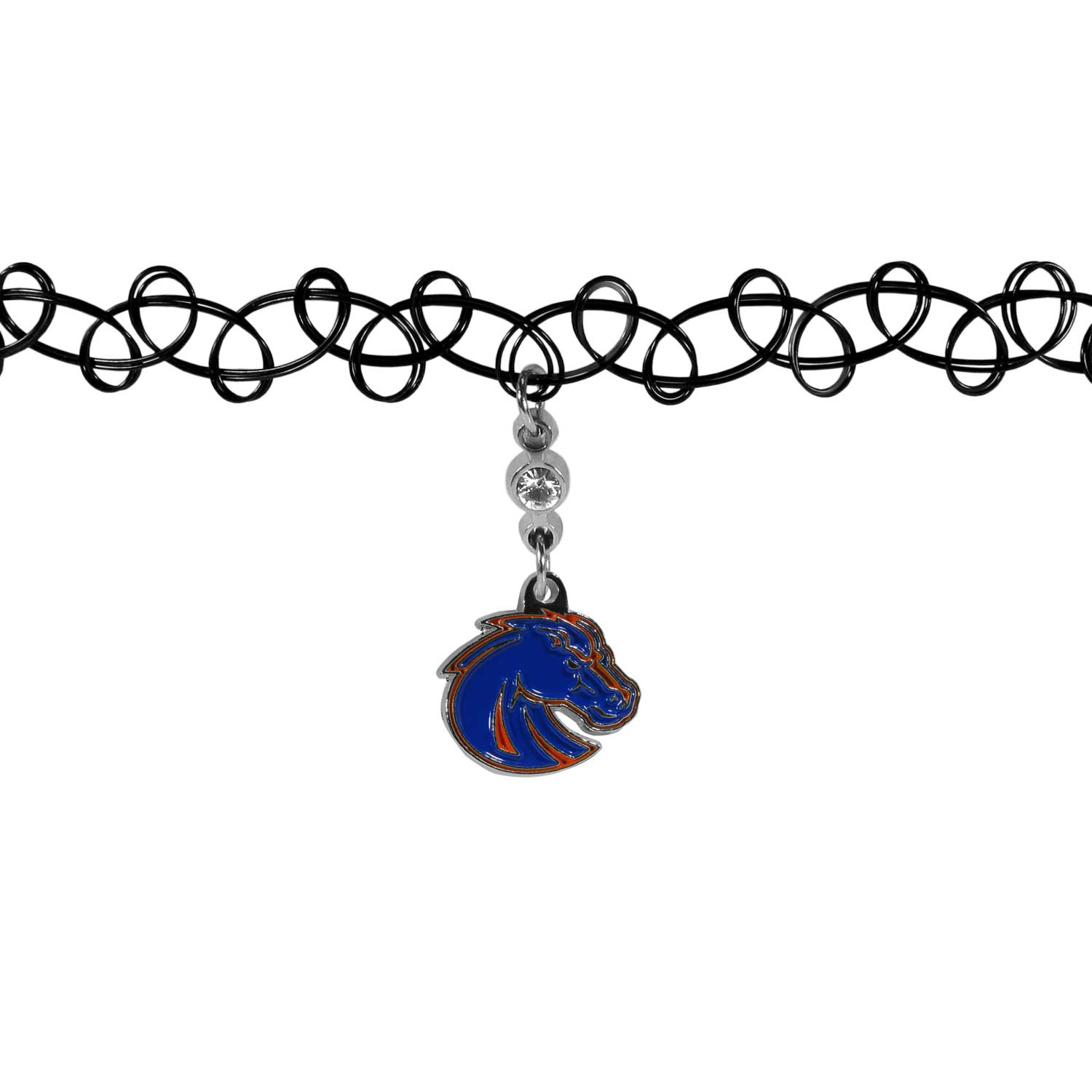 Boise St. Broncos Knotted Choker - This retro, knotted choker is a cool and unique piece of fan jewelry. The tattoo style choker features a high polish Boise St. Broncos charm with rhinestone accents.