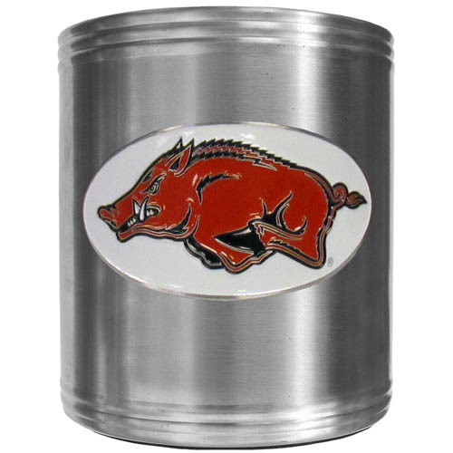 Arkansas Razorbacks Can Cooler - This insulated steel can cooler is a perfect addition to any Arkansas Razorbacks tailgating or outdoor event. The cooler features a cast & enameled Arkansas Razorbacks emblem. Thank you for shopping with CrazedOutSports.com