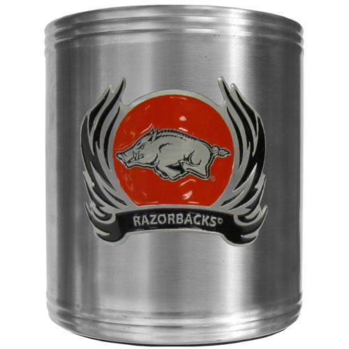 Arkansas Razorbacks Flame Can Cooler - This insulated steel can cooler is a perfect addition to any Arkansas Razorbacks tailgating or outdoor event. The cooler features a cast & enameled Arkansas Razorbacks emblem. Thank you for shopping with CrazedOutSports.com