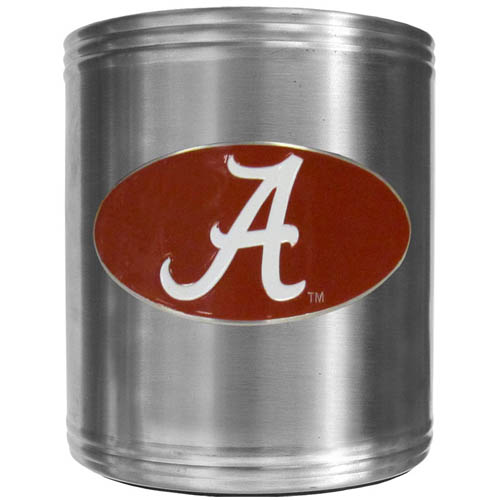 Alabama Crimson Tide Can Cooler - This Alabama Crimson Tide insulated steel can cooler is a perfect addition to any tailgating or outdoor event. The cooler features a cast & enameled Alabama Crimson Tide emblem. Thank you for shopping with CrazedOutSports.com