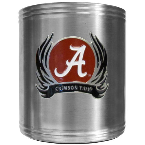 Alabama Crimson Tide Flame Can Cooler - This Alabama Crimson Tide insulated steel can cooler is a perfect addition to any tailgating or outdoor event. The cooler features a cast & enameled Alabama Crimson Tide emblem. Thank you for shopping with CrazedOutSports.com