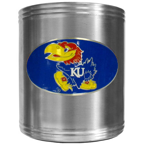 Kansas Jayhawks Can Cooler - This Kansas Jayhawks insulated steel can cooler is a perfect addition to any tailgating or outdoor event. The cooler features a cast & enameled Kansas Jayhawks emblem. Thank you for shopping with CrazedOutSports.com