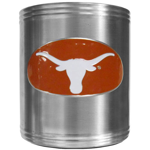 Texas Can Cooler - This insulated steel can cooler is a perfect addition to any tailgating or outdoor event. The cooler features a cast & enameled Texas Longhorns emblem. Thank you for shopping with CrazedOutSports.com