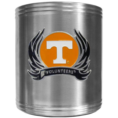 Tennessee Flame Can Cooler - This insulated steel can cooler is a perfect addition to any tailgating or outdoor event. The cooler features a cast & enameled Tennessee Volunteers emblem. Thank you for shopping with CrazedOutSports.com