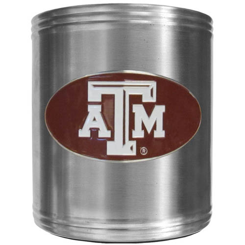 Texas A and M  Can Cooler - This insulated steel can cooler is a perfect addition to any tailgating or outdoor event. The cooler features a cast & enameled Texas A & M Aggies emblem. Thank you for shopping with CrazedOutSports.com