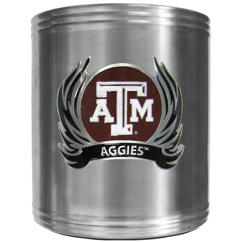 Texas AandM Flame Can Cooler - This insulated steel can cooler is a perfect addition to any tailgating or outdoor event. The cooler features a cast & enameled Texas A & M Aggies emblem. Thank you for shopping with CrazedOutSports.com