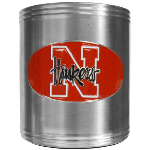 Nebraska Can Cooler - This insulated steel can cooler is a perfect addition to any tailgating or outdoor event. The cooler features a cast & enameled Nebraska Cornhuskers emblem. Thank you for shopping with CrazedOutSports.com