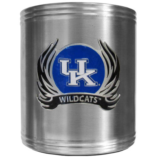 Kentucky Flame Can Cooler - This insulated steel can cooler is a perfect addition to any tailgating or outdoor event. The cooler features a cast & enameled Kentucky Wildcats emblem. Thank you for shopping with CrazedOutSports.com