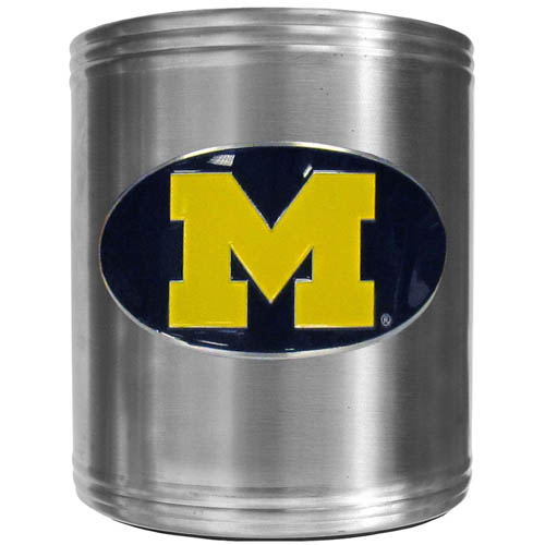 Michigan Wolverines Can Cooler - This insulated steel Michigan Wolverines Can Cooler is a perfect addition to any tailgating or outdoor event. The Michigan Wolverines Can Cooler features a cast & enameled Michigan Wolverines emblem. Thank you for shopping with CrazedOutSports.com