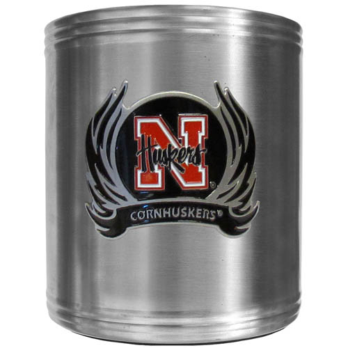Nebraska Flame Can Cooler - This insulated steel can cooler is a perfect addition to any tailgating or outdoor event. The cooler features a cast & enameled Nebraska Cornhuskers emblem. Thank you for shopping with CrazedOutSports.com