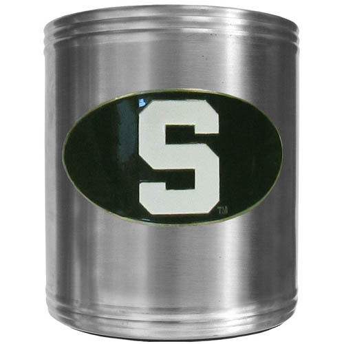 Michigan St. Spartans Steel Can Cooler - This insulated Michigan St. Spartans Steel Can Cooler is a perfect addition to any tailgating or outdoor event. The Michigan St. Spartans Steel Can Cooler features a cast & enameled Michigan St. Spartans emblem. Thank you for shopping with CrazedOutSports.com