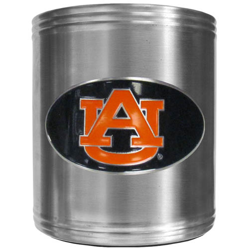 Auburn Tigers Can Cooler - This insulated steel can cooler is a perfect addition to any tailgating or outdoor event. The cooler features a cast & enameled Auburn Tigers emblem. Thank you for shopping with CrazedOutSports.com