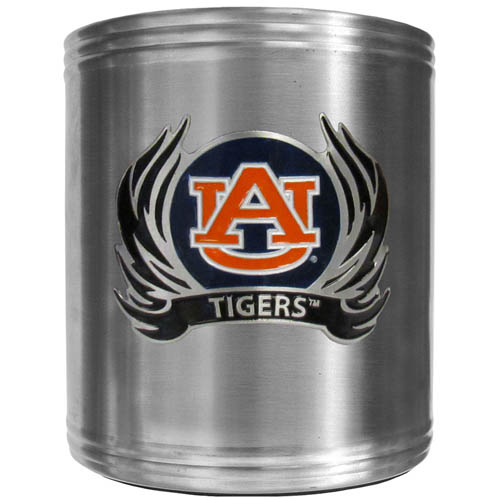 Auburn Tigers Flame Can Cooler - This insulated steel can cooler is a perfect addition to any tailgating or outdoor event. The cooler features a cast & enameled Auburn Tigers emblem. Thank you for shopping with CrazedOutSports.com