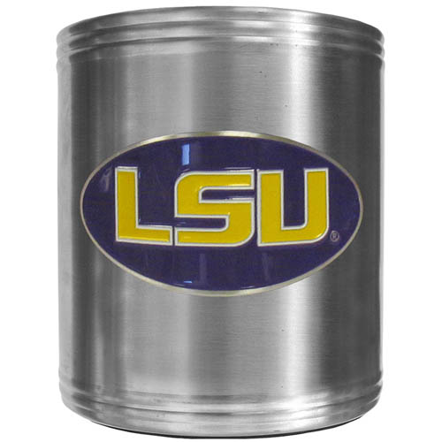 LSU Tigers Can Cooler - This insulated steel LSU Tigers can cooler is a perfect addition to any tailgating or outdoor event. The LSU Tigers Can cooler features a cast & enameled school emblem. Thank you for shopping with CrazedOutSports.com