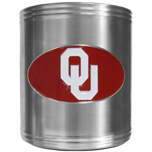 Oklahoma Can Cooler - This insulated steel can cooler is a perfect addition to any tailgating or outdoor event. The cooler features a cast & enameled Oklahoma Sooners emblem. Thank you for shopping with CrazedOutSports.com