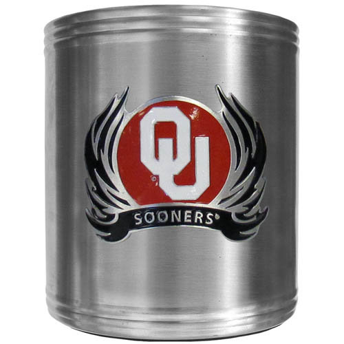 Oklahoma Flame Can Cooler - This insulated steel can cooler is a perfect addition to any tailgating or outdoor event. The cooler features a cast & enameled Oklahoma Sooners emblem. Thank you for shopping with CrazedOutSports.com