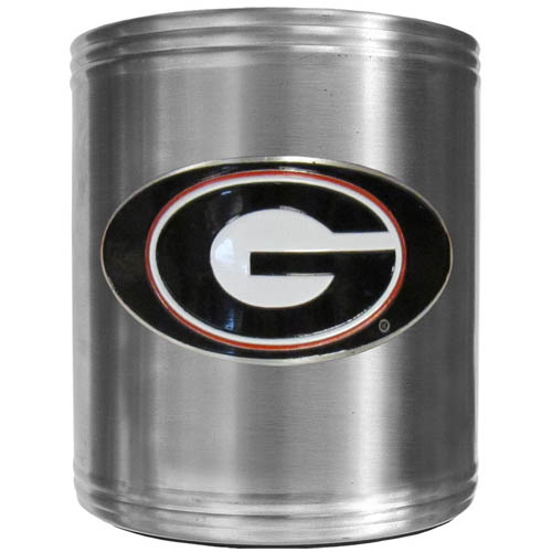 Georgia Bulldogs Can Cooler - This insulated Georgia Bulldogs steel can cooler is a perfect addition to any tailgating or outdoor event. The cooler features a cast & enameled Georgia Bulldogs emblem. Thank you for shopping with CrazedOutSports.com