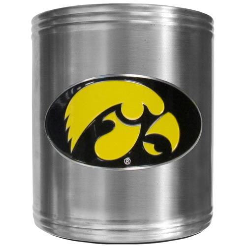Iowa Hawkeyes Can Cooler - This insulated Iowa Hawkeyes steel can cooler is a perfect addition to any tailgating or outdoor event. The cooler features a cast & enameled Iowa Hawkeyes emblem. Thank you for shopping with CrazedOutSports.com