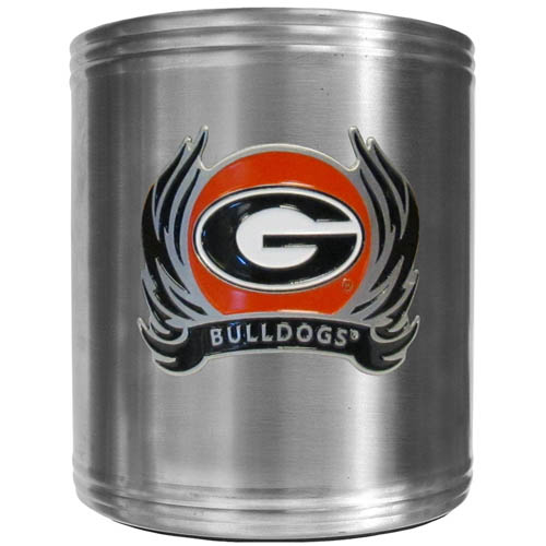 Georgia Bulldogs Flame Can Cooler - This insulated Georgia Bulldogs Flame Steel Can Cooler can cooler is a perfect addition to any tailgating or outdoor event. The cooler features a cast & enameled Georgia Bulldogs emblem. Thank you for shopping with CrazedOutSports.com
