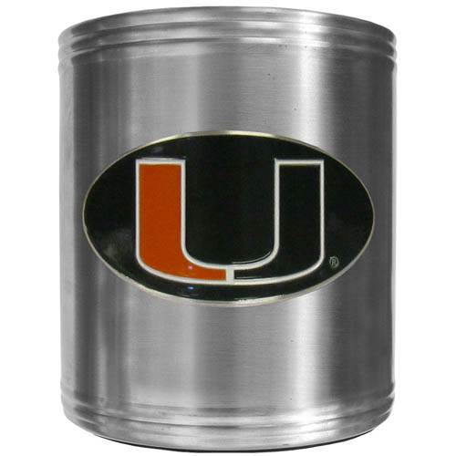 Miami Hurricanes Can Cooler - This insulated steel Miami Hurricanes can cooler is a perfect addition to any tailgating or outdoor event. The Miami Hurricanes can cooler features a cast & enameled Miami Hurricanes emblem. Thank you for shopping with CrazedOutSports.com