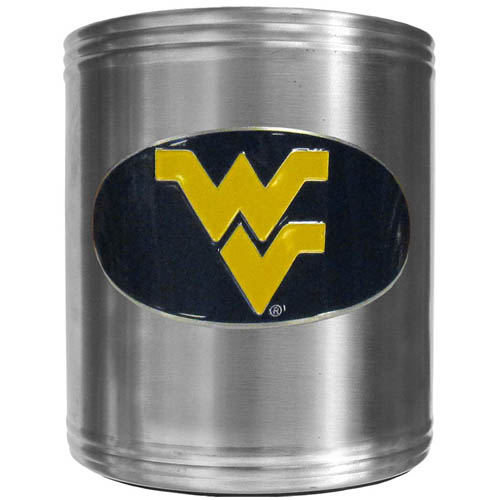 W. Virginia Can Cooler - This insulated steel can cooler is a perfect addition to any tailgating or outdoor event. The cooler features a cast & enameled W. Virginia Mountaineers emblem. Thank you for shopping with CrazedOutSports.com