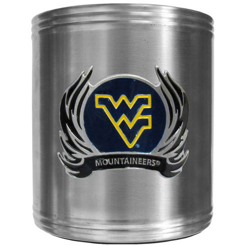 W. Virginai Flame Can Cooler - This insulated steel can cooler is a perfect addition to any tailgating or outdoor event. The cooler features a cast & enameled W. Virginia Mountaineers emblem. Thank you for shopping with CrazedOutSports.com