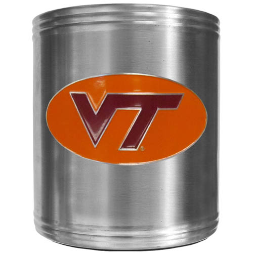 Virginia Tech Can Cooler - This insulated steel can cooler is a perfect addition to any tailgating or outdoor event. The cooler features a cast & enameled school emblem. Thank you for shopping with CrazedOutSports.com