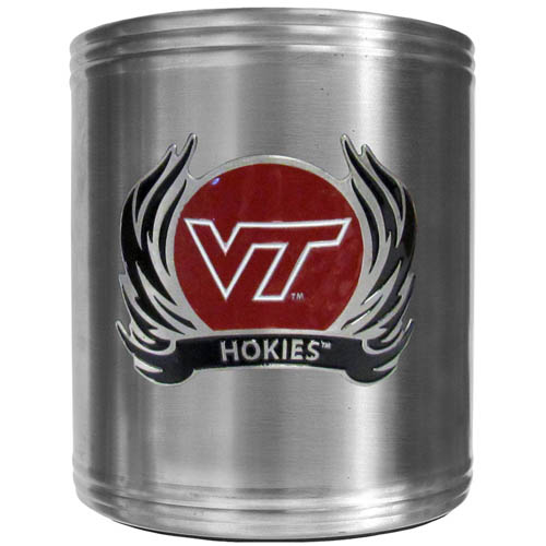 Virginia Tech Flame Can Cooler - This insulated steel can cooler is a perfect addition to any tailgating or outdoor event. The cooler features a cast & enameled Virginia Tech Hokies emblem. Thank you for shopping with CrazedOutSports.com