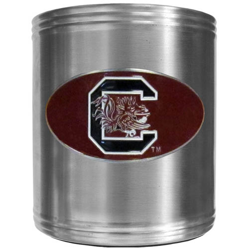 S. Carolina Can Cooler - This insulated steel can cooler is a perfect addition to any tailgating or outdoor event. The cooler features a cast & enameled S. Carolina Gamecocks emblem. Thank you for shopping with CrazedOutSports.com