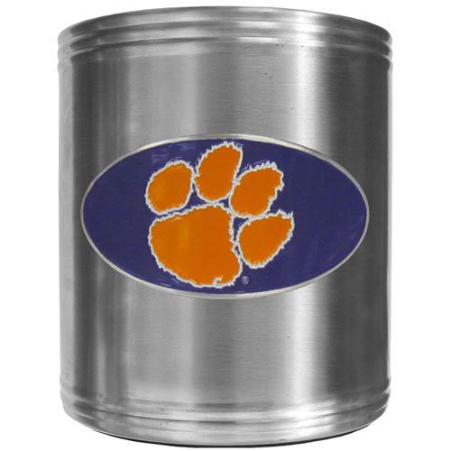 Clemson Tigers Can Cooler - This insulated steel can cooler is a perfect addition to any tailgating or outdoor event. The cooler features a cast & enameled Clemson Tigers emblem. Thank you for shopping with CrazedOutSports.com