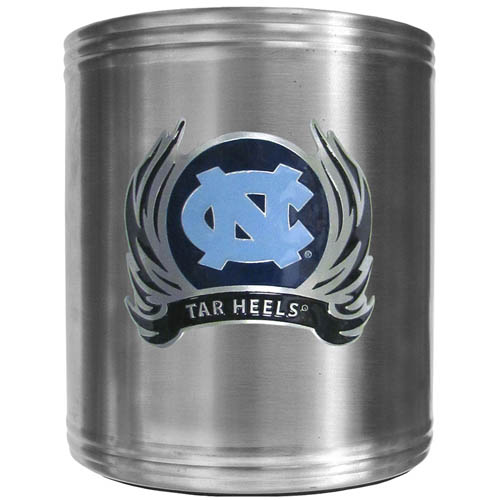 N. Carolina Flame Can Cooler - This insulated steel can cooler is a perfect addition to any tailgating or outdoor event. The cooler features a cast & enameled N. Carolina Tar Heels emblem. Thank you for shopping with CrazedOutSports.com
