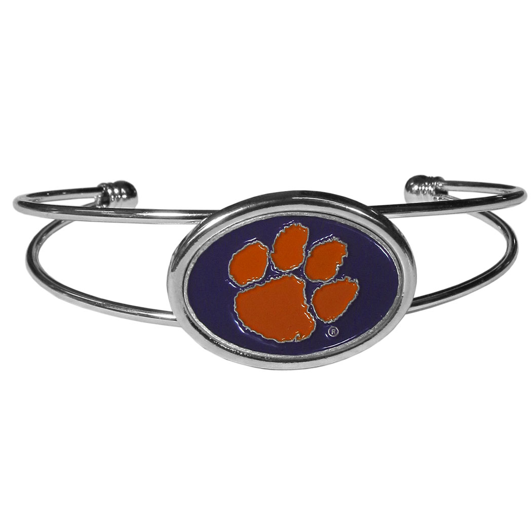 Clemson Tigers Cuff Bracelet - These comfortable and fashionable double-bar cuff bracelets feature a 1 inch metal Clemson Tigers inset logo with enameled detail.