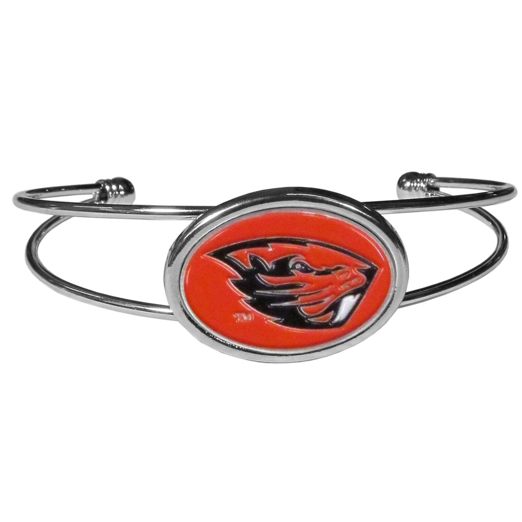 Oregon St. Beavers Cuff Bracelet - These comfortable and fashionable double-bar cuff bracelets feature a 1 inch metal Oregon St. Beavers inset logo with enameled detail.
