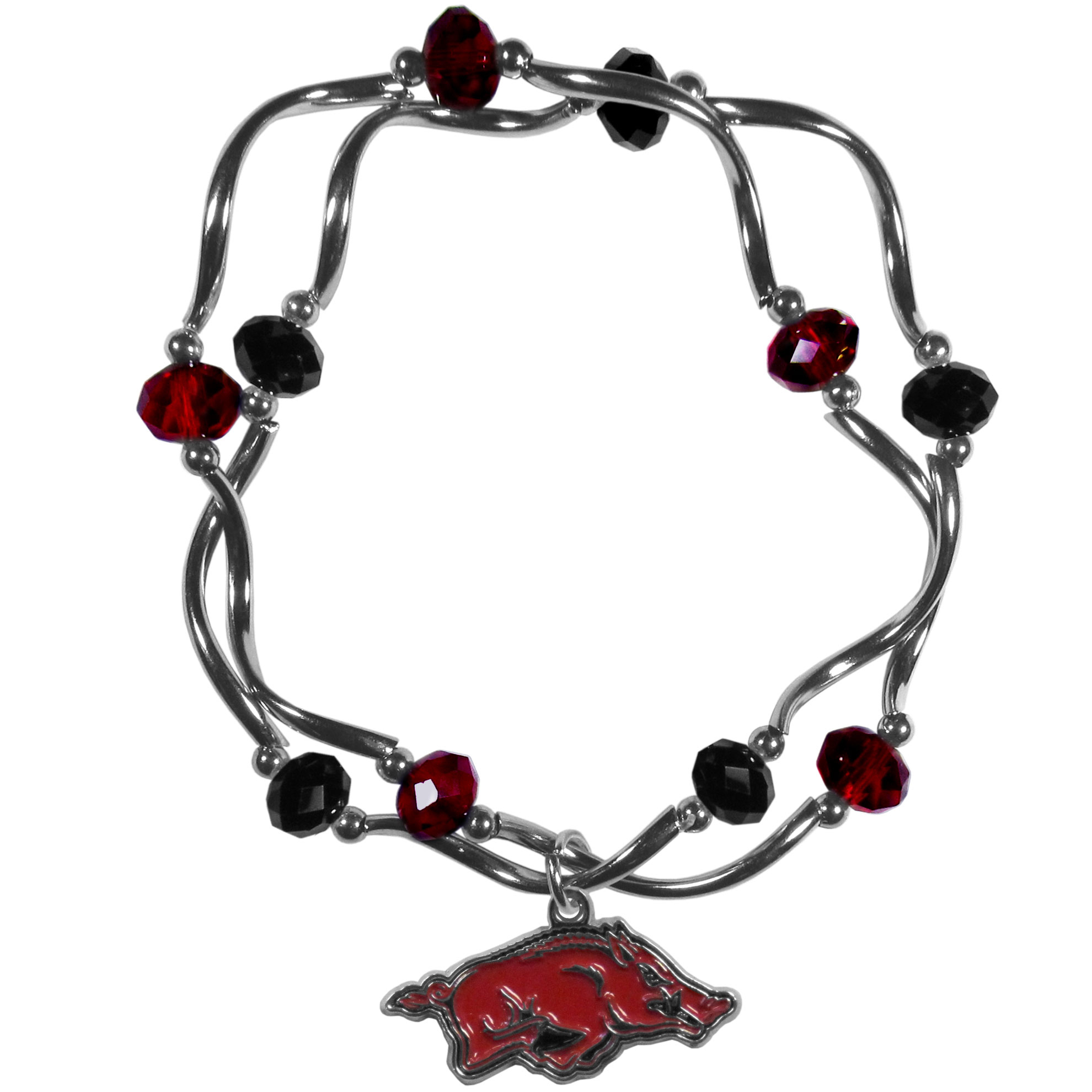 Arkansas Razorbacks Crystal Bead Bracelet - This delicate bead bracelet has eye-catching team colored beads that are strung on 2 stretch cords that provide a comfortable and easy fit. The crystals are separated by beautiful helix beads in high polish chrome for a truly designer inspired look. The 2 strands of beads intertwine for a fun and stylish bracelet. This chic accessory is finished off with a Arkansas Razorbacks team charm that has expertly carved detail and an enameled color finish. A contemporary look to thrill any female sports fan. Whether this a gift for yourself or someone special you cannot miss with this trend-setting fashion bracelet.
