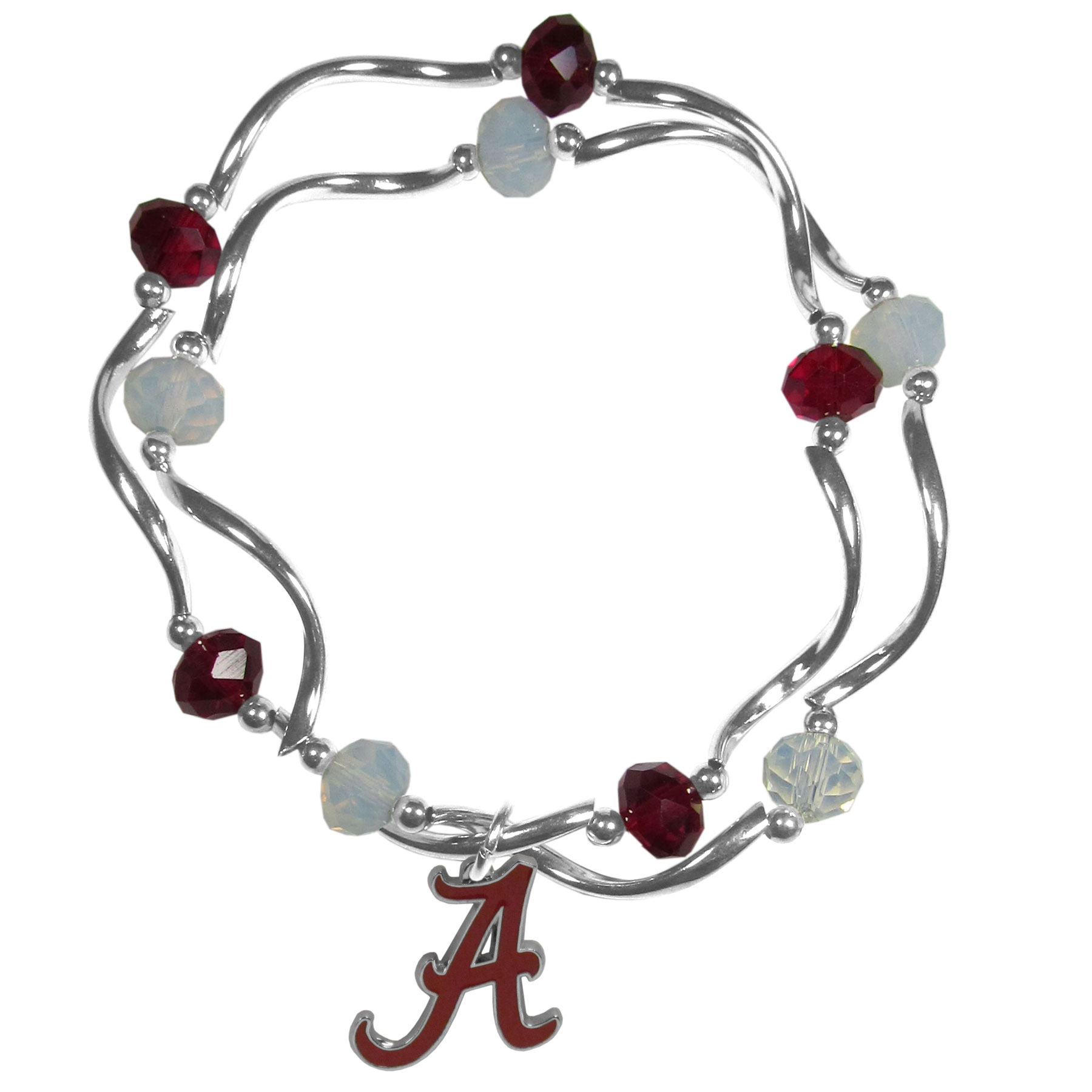 Alabama Crimson Tide Crystal Bead Bracelet - This delicate bead bracelet has eye-catching team colored beads that are strung on 2 stretch cords that provide a comfortable and easy fit. The crystals are separated by beautiful helix beads in high polish chrome for a truly designer inspired look. The 2 strands of beads intertwine for a fun and stylish bracelet. This chic accessory is finished off with a Alabama Crimson Tide team charm that has expertly carved detail and an enameled color finish. A contemporary look to thrill any female sports fan. Whether this a gift for yourself or someone special you cannot miss with this trend-setting fashion bracelet.
